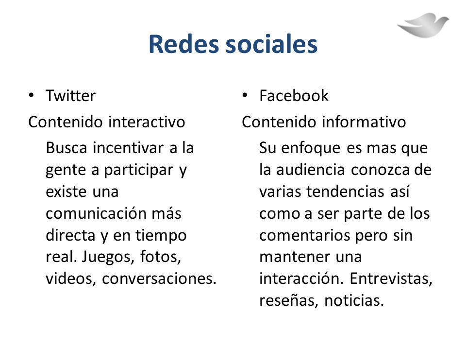 Redes sociales Twitter Contenido interactivo Busca incentivar a la gente a participar y existe una comunicación más directa y en tiempo real. Juegos,