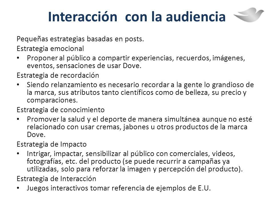 Interacción con la audiencia Pequeñas estrategias basadas en posts. Estrategia emocional Proponer al público a compartir experiencias, recuerdos, imág