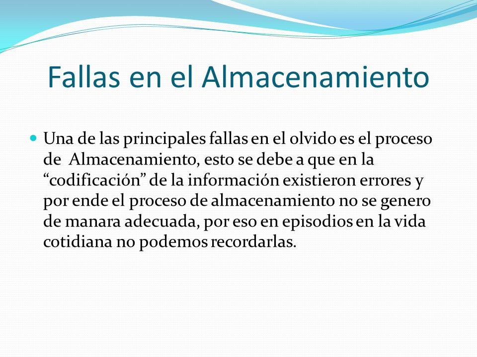 Fallas en el Almacenamiento Una de las principales fallas en el olvido es el proceso de Almacenamiento, esto se debe a que en la codificación de la in