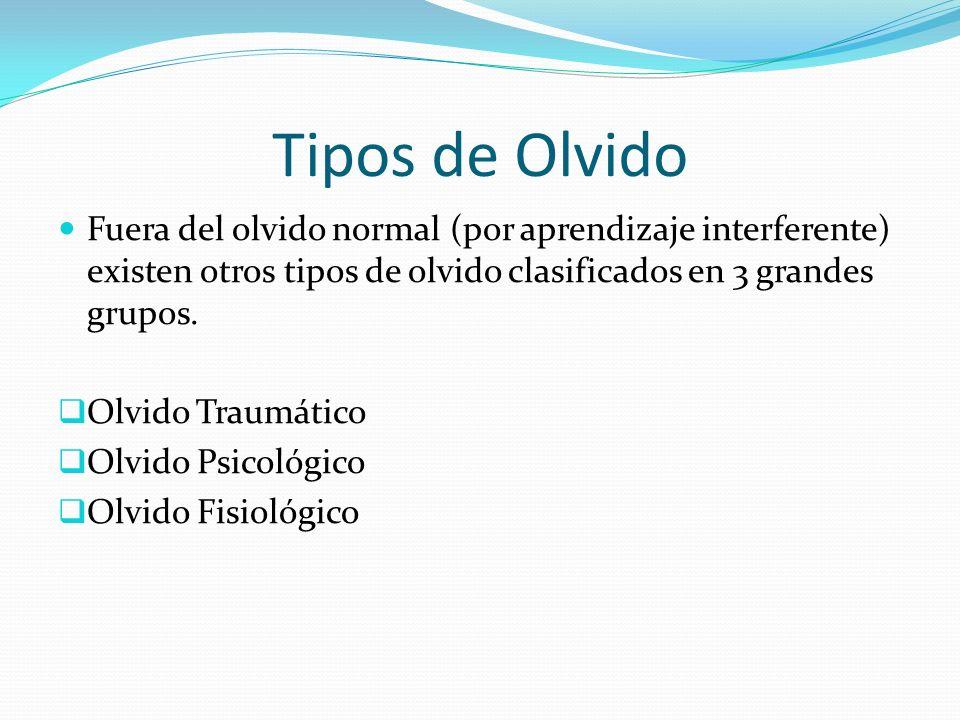 Tipos de Olvido Fuera del olvido normal (por aprendizaje interferente) existen otros tipos de olvido clasificados en 3 grandes grupos. Olvido Traumáti