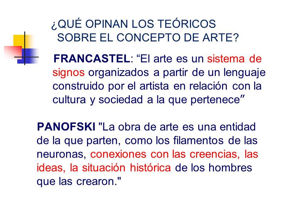 ¿QUÉ OPINAN LOS TEÓRICOS SOBRE EL CONCEPTO DE ARTE? FRANCASTEL: El arte es un sistema de signos organizados a partir de un lenguaje construido por el