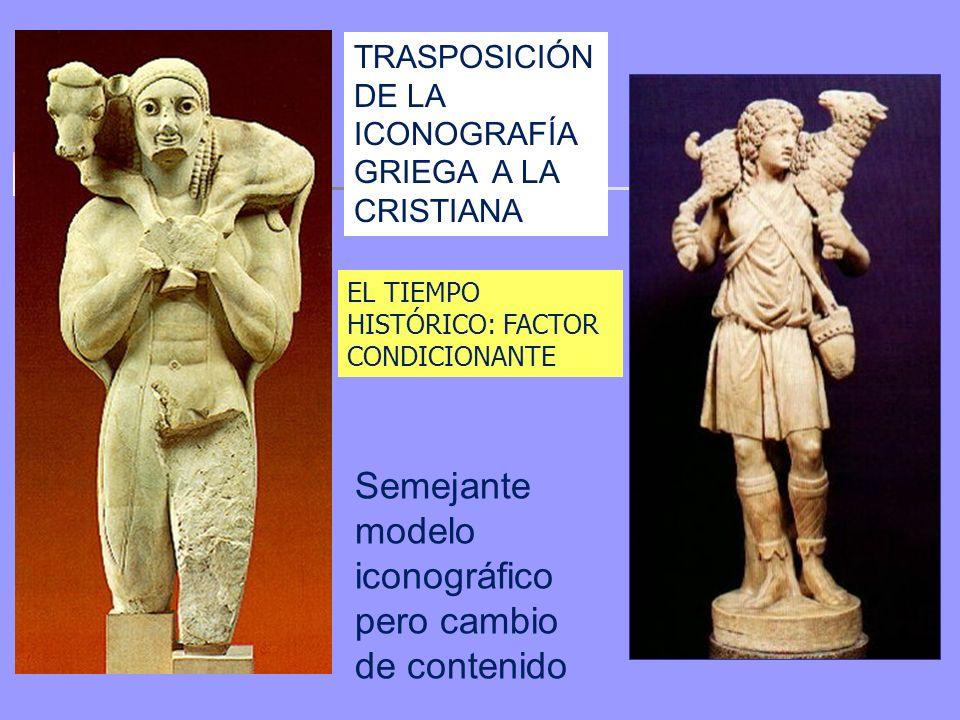 TRASPOSICIÓN DE LA ICONOGRAFÍA GRIEGA A LA CRISTIANA Semejante modelo iconográfico pero cambio de contenido EL TIEMPO HISTÓRICO: FACTOR CONDICIONANTE