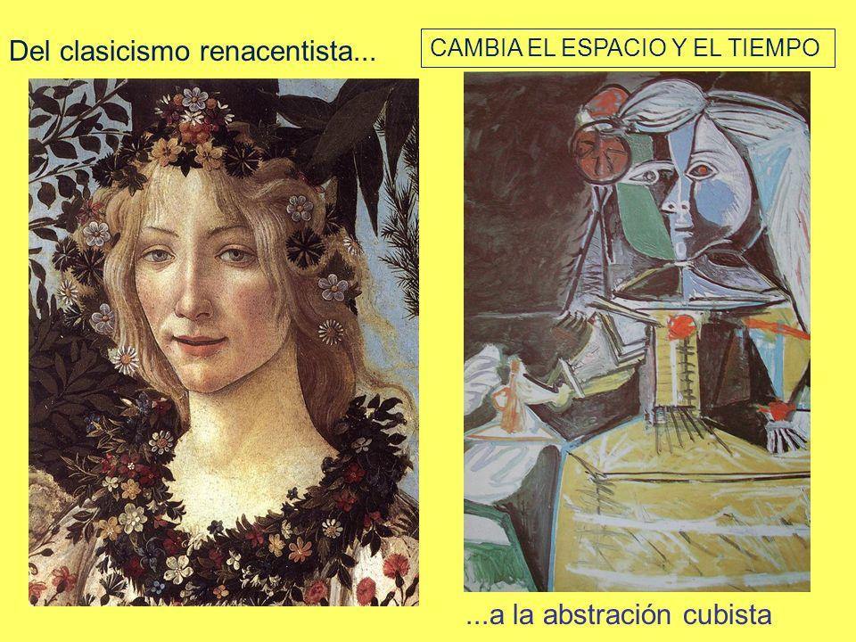 Del clasicismo renacentista......a la abstración cubista CAMBIA EL ESPACIO Y EL TIEMPO