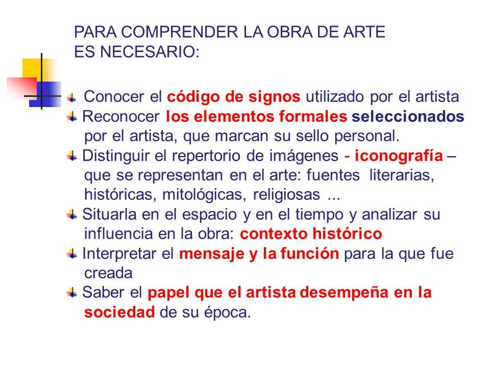 Conocer el código de signos utilizado por el artista Reconocer los elementos formales seleccionados por el artista, que marcan su sello personal. Dist