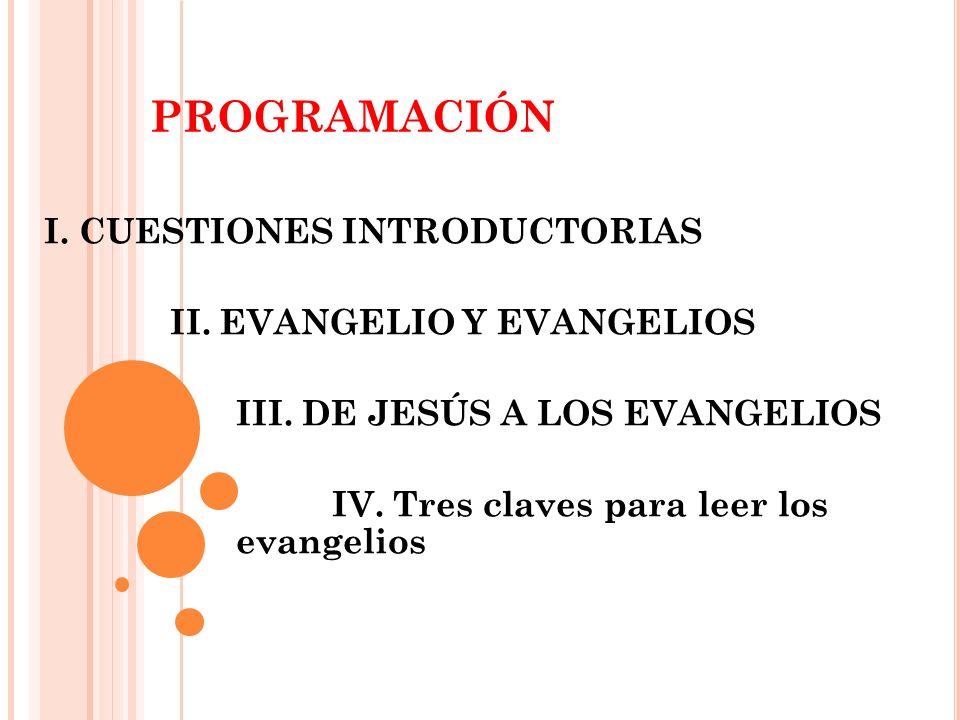 PROGRAMACIÓN I. CUESTIONES INTRODUCTORIAS II. EVANGELIO Y EVANGELIOS III. DE JESÚS A LOS EVANGELIOS IV. Tres claves para leer los evangelios
