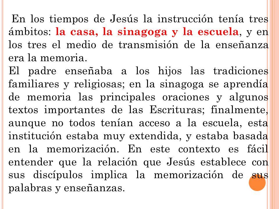 En los tiempos de Jesús la instrucción tenía tres ámbitos: la casa, la sinagoga y la escuela, y en los tres el medio de transmisión de la enseñanza er