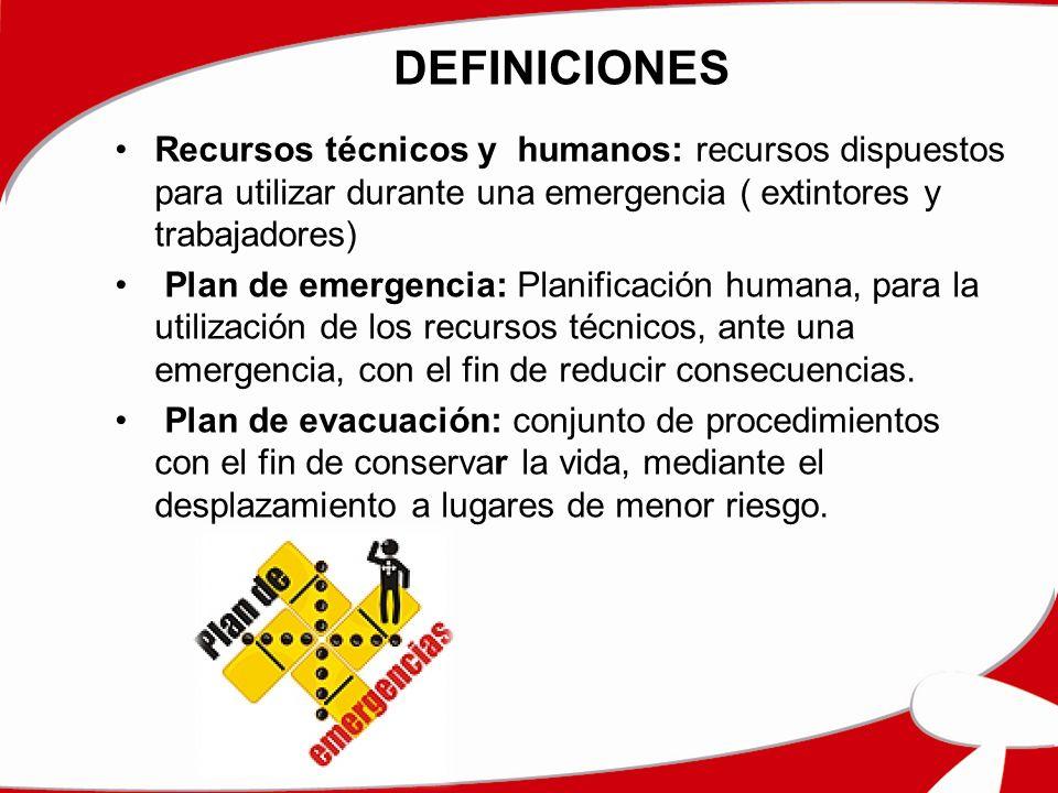 DEFINICIONES Recursos técnicos y humanos: recursos dispuestos para utilizar durante una emergencia ( extintores y trabajadores) Plan de emergencia: Planificación humana, para la utilización de los recursos técnicos, ante una emergencia, con el fin de reducir consecuencias.