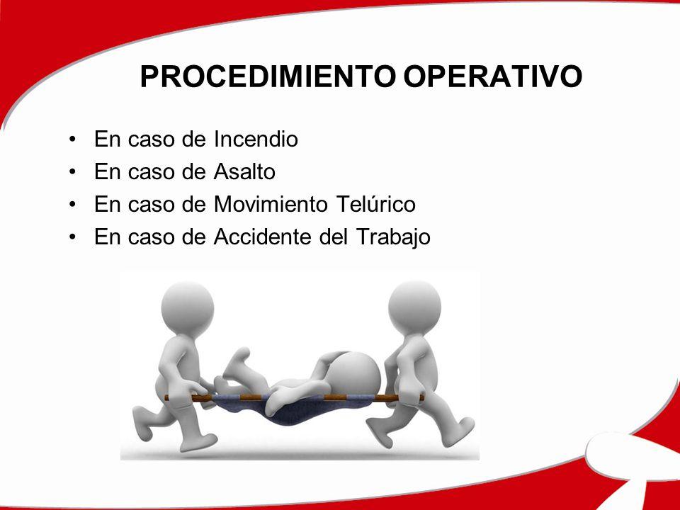 PROCEDIMIENTO OPERATIVO En caso de Incendio En caso de Asalto En caso de Movimiento Telúrico En caso de Accidente del Trabajo