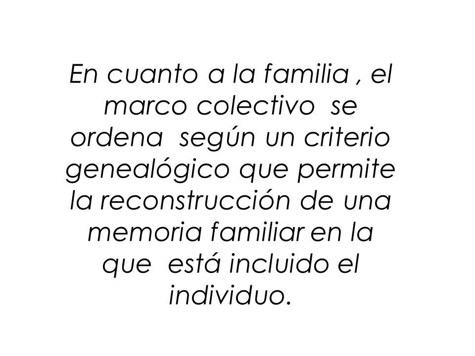 En cuanto a la familia, el marco colectivo se ordena según un criterio genealógico que permite la reconstrucción de una memoria familiar en la que est