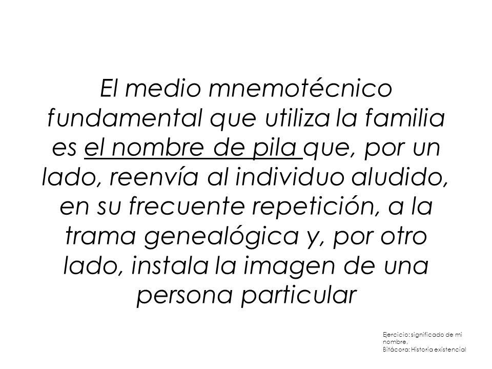 El medio mnemotécnico fundamental que utiliza la familia es el nombre de pila que, por un lado, reenvía al individuo aludido, en su frecuente repetici