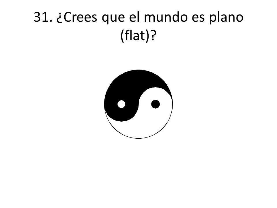 31. ¿Crees que el mundo es plano (flat)?