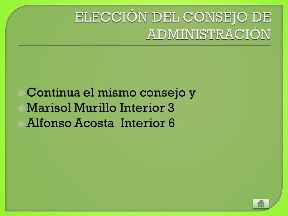 Continua el mismo consejo y Marisol Murillo Interior 3 Alfonso Acosta Interior 6