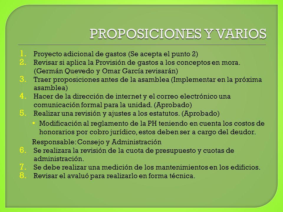 1. Proyecto adicional de gastos (Se acepta el punto 2) 2. Revisar si aplica la Provisión de gastos a los conceptos en mora. (Germán Quevedo y Omar Gar