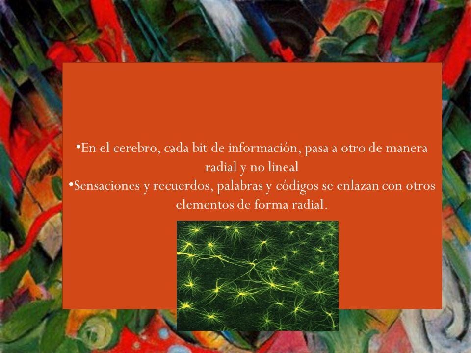 Guiri,,,, En el cerebro, cada bit de información, pasa a otro de manera radial y no lineal Sensaciones y recuerdos, palabras y códigos se enlazan con