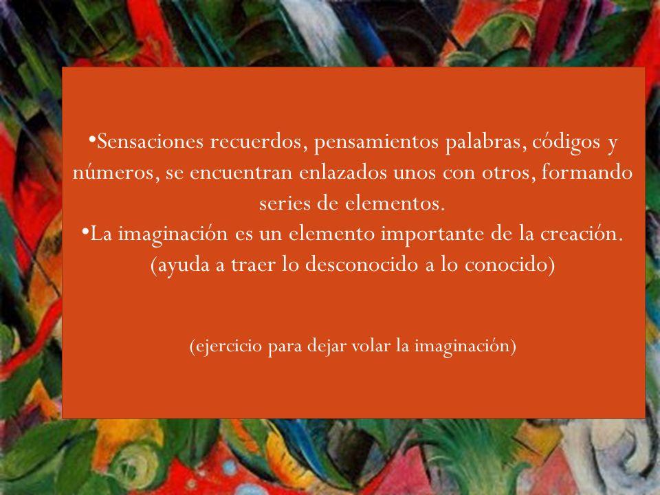 Guiri,,,, Sensaciones recuerdos, pensamientos palabras, códigos y números, se encuentran enlazados unos con otros, formando series de elementos. La im