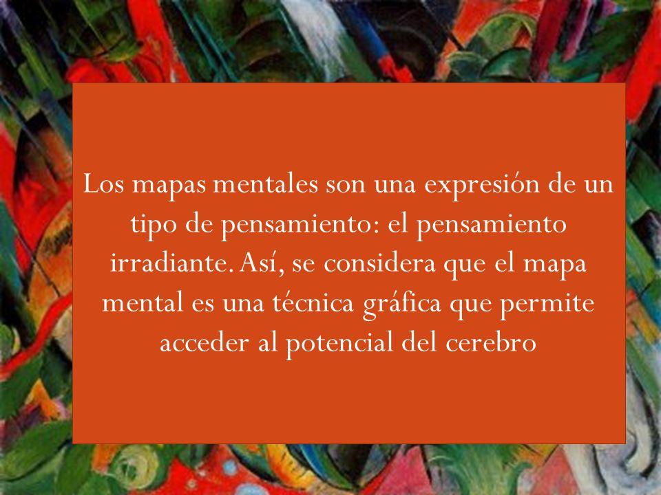 Guiri,,,, Los mapas mentales son una expresión de un tipo de pensamiento: el pensamiento irradiante. Así, se considera que el mapa mental es una técni