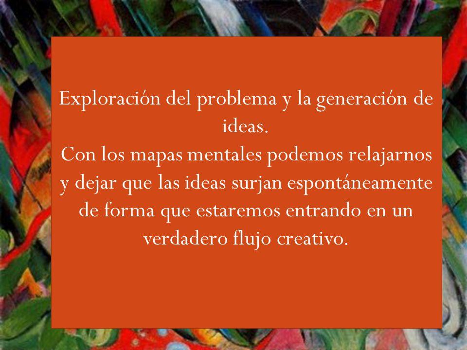 Guiri,,,, Exploración del problema y la generación de ideas. Con los mapas mentales podemos relajarnos y dejar que las ideas surjan espontáneamente de