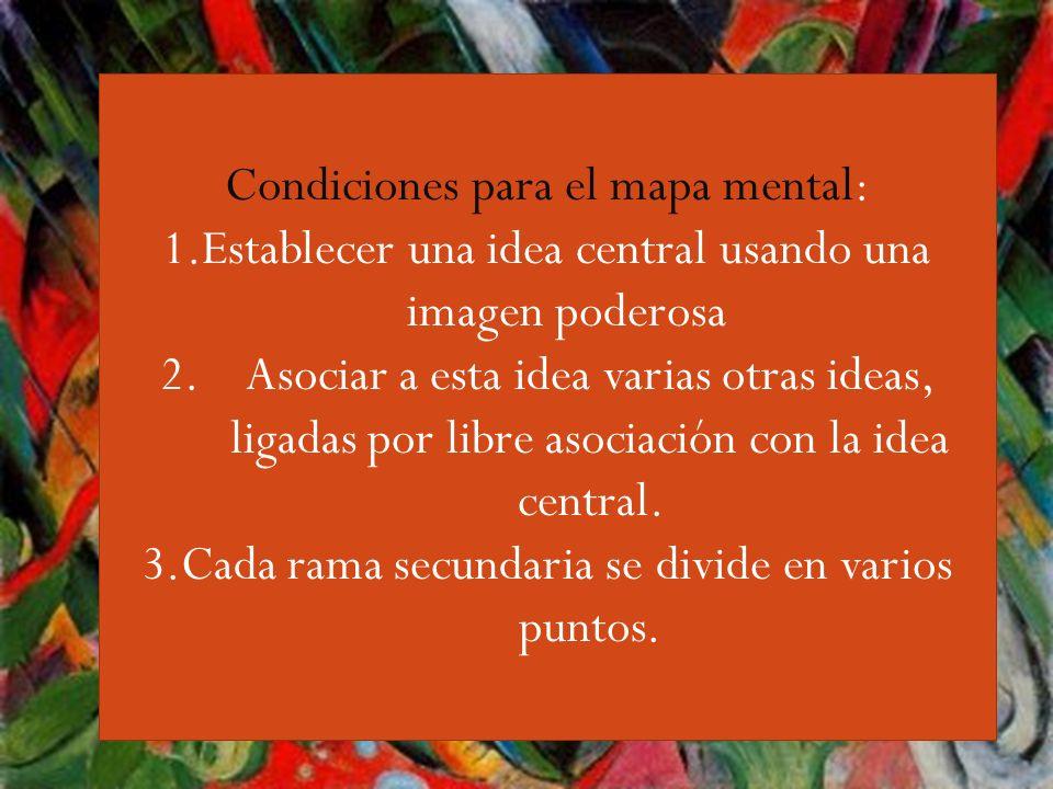 Guiri,,,, Condiciones para el mapa mental: 1.Establecer una idea central usando una imagen poderosa 2.Asociar a esta idea varias otras ideas, ligadas