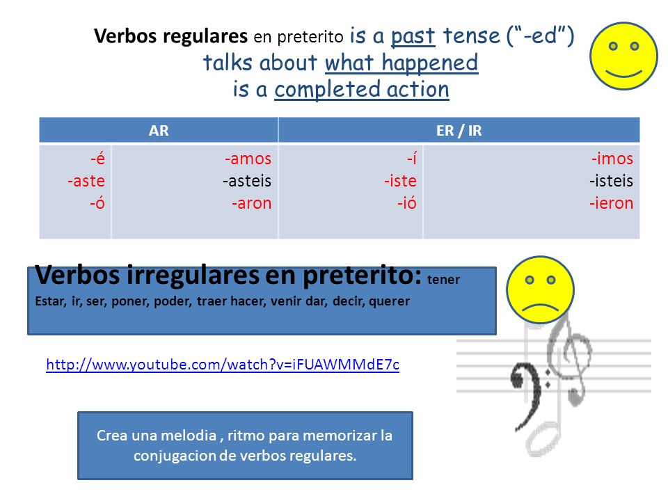 Verbos regulares en preterito is a past tense (-ed) talks about what happened is a completed action ARER / IR -é -aste -ó -amos -asteis -aron -í -iste