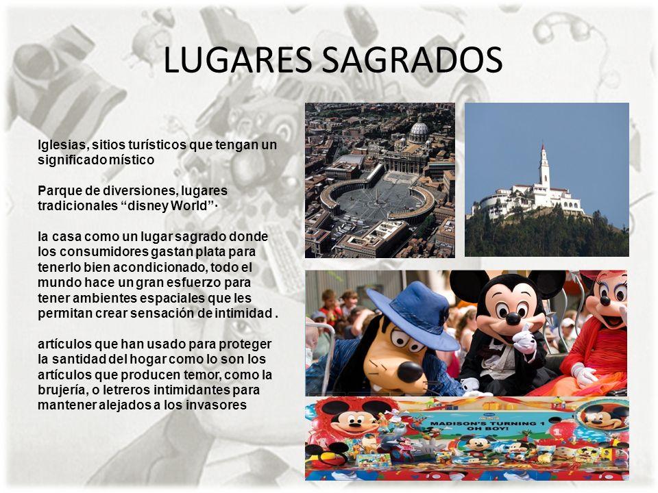 LUGARES SAGRADOS Iglesias, sitios turísticos que tengan un significado místico Parque de diversiones, lugares tradicionales disney World· la casa como
