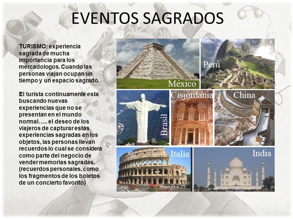 EVENTOS SAGRADOS TURISMO: experiencia sagrada de mucha importancia para los mercadologos. Cuando las personas viajan ocupan un tiempo y un espacio sag