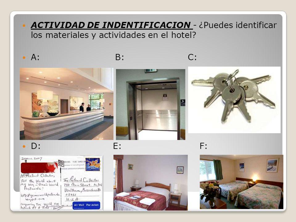 ACTIVIDAD DE INDENTIFICACION - ¿Puedes identificar los materiales y actividades en el hotel? A: B: C: D: E: F:
