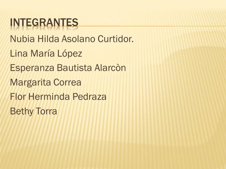Nubia Hilda Asolano Curtidor. Lina María López Esperanza Bautista Alarcòn Margarita Correa Flor Herminda Pedraza Bethy Torra