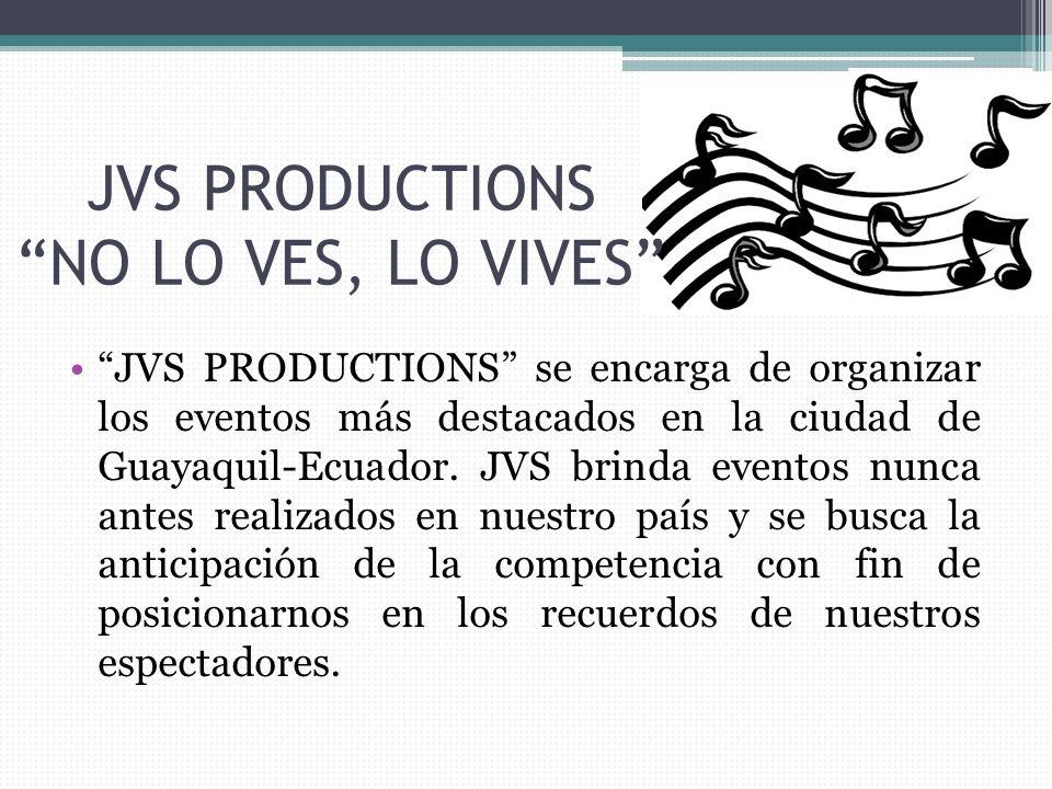 JVS PRODUCTIONS NO LO VES, LO VIVES JVS PRODUCTIONS se encarga de organizar los eventos más destacados en la ciudad de Guayaquil-Ecuador.