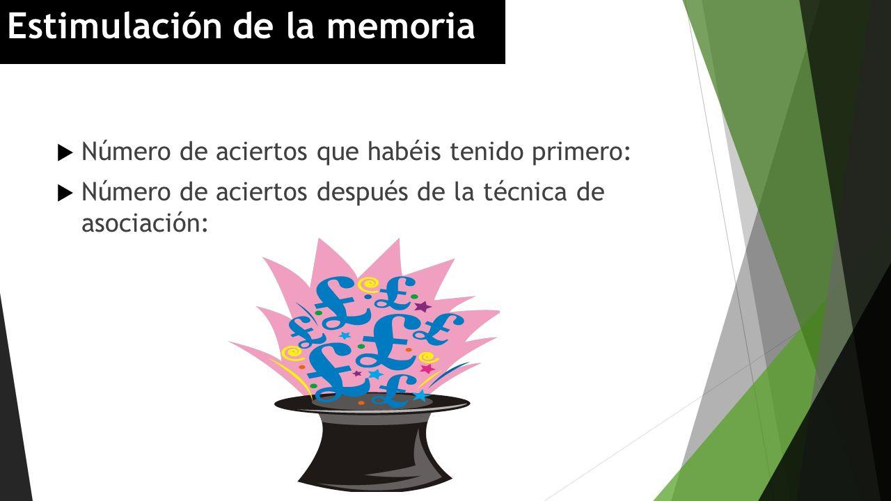 Número de aciertos que habéis tenido primero: Número de aciertos después de la técnica de asociación: Estimulación de la memoria