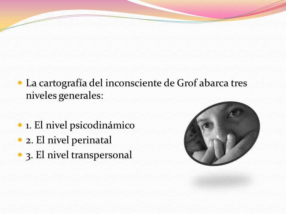 La cartografía del inconsciente de Grof abarca tres niveles generales: 1. El nivel psicodinámico 2. El nivel perinatal 3. El nivel transpersonal