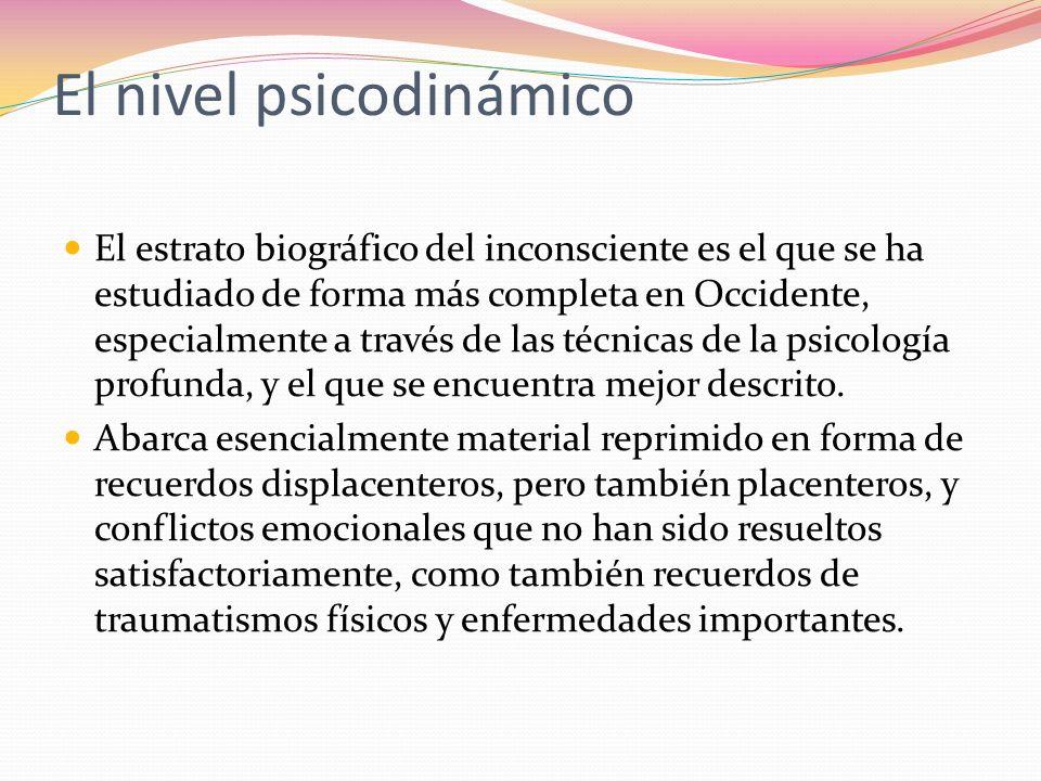 El nivel psicodinámico El estrato biográfico del inconsciente es el que se ha estudiado de forma más completa en Occidente, especialmente a través de