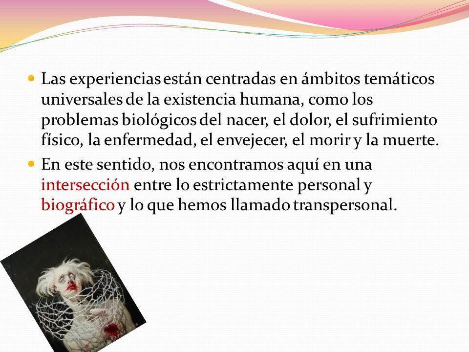 Las experiencias están centradas en ámbitos temáticos universales de la existencia humana, como los problemas biológicos del nacer, el dolor, el sufri