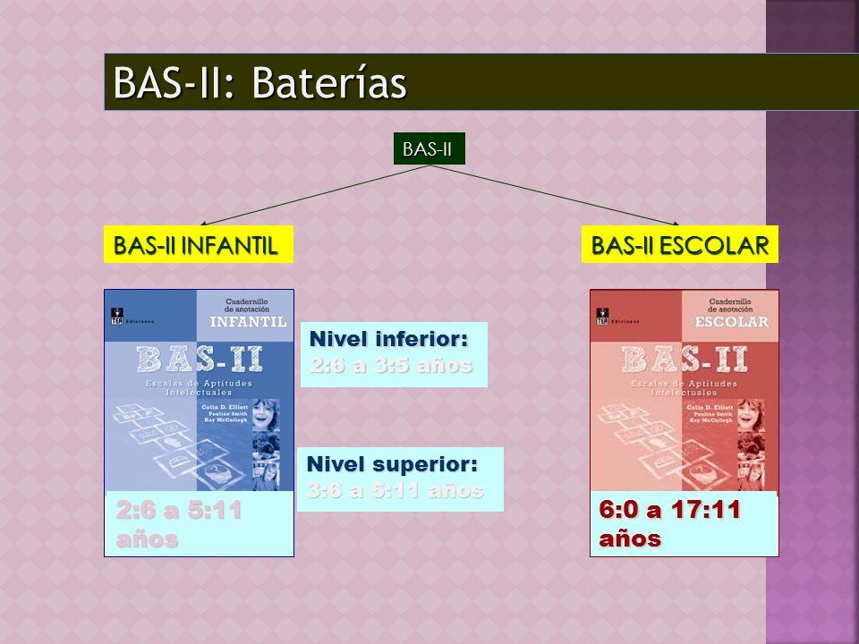 BAS-II: Baterías BAS-II BAS-II INFANTIL 2:6 a 5:11 años BAS-II ESCOLAR 6:0 a 17:11 años Nivel inferior: 2:6 a 3:5 años Nivel superior: 3:6 a 5:11 años