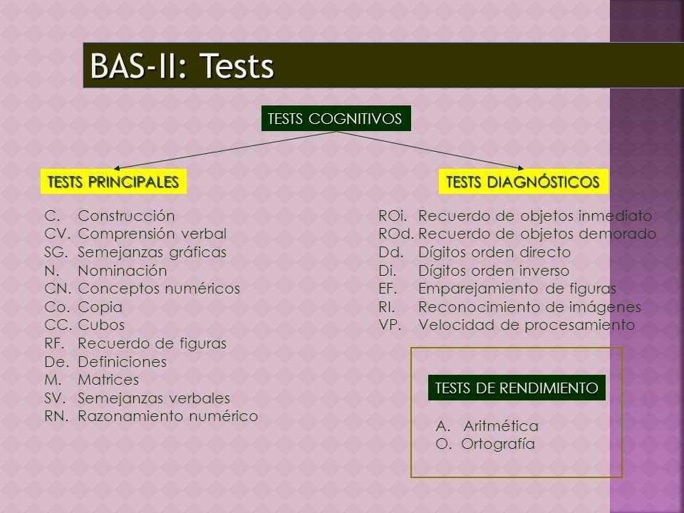 BAS-II: Tests TESTS COGNITIVOS TESTS PRINCIPALES TESTS DIAGNÓSTICOS TESTS DE RENDIMIENTO C. Construcción CV.Comprensión verbal SG. Semejanzas gráficas