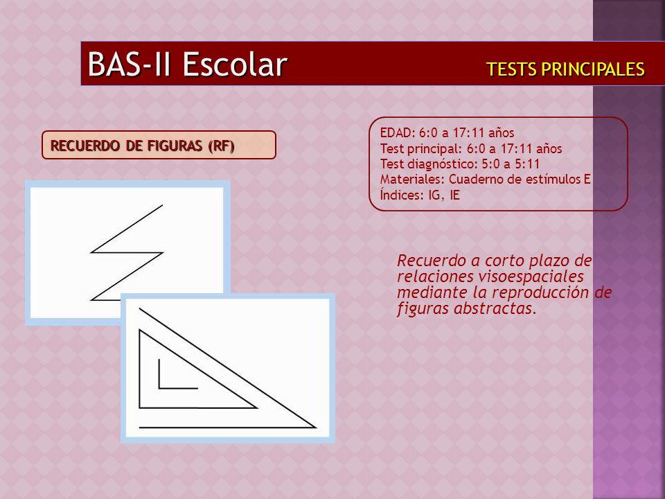 Recuerdo a corto plazo de relaciones visoespaciales mediante la reproducción de figuras abstractas. BAS-II Escolar TESTS PRINCIPALES EDAD: 6:0 a 17:11