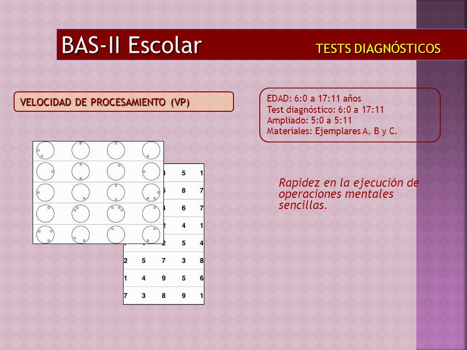Rapidez en la ejecución de operaciones mentales sencillas. BAS-II Escolar TESTS DIAGNÓSTICOS EDAD: 6:0 a 17:11 años Test diagnóstico: 6:0 a 17:11 Ampl