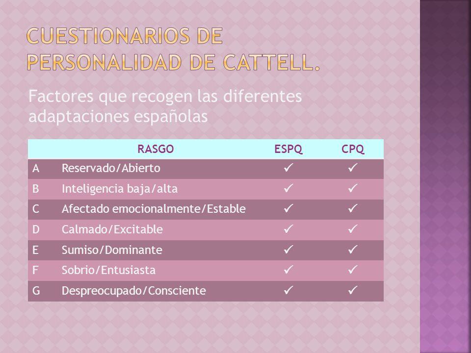 Factores que recogen las diferentes adaptaciones españolas RASGOESPQCPQ AReservado/Abierto BInteligencia baja/alta CAfectado emocionalmente/Estable DC