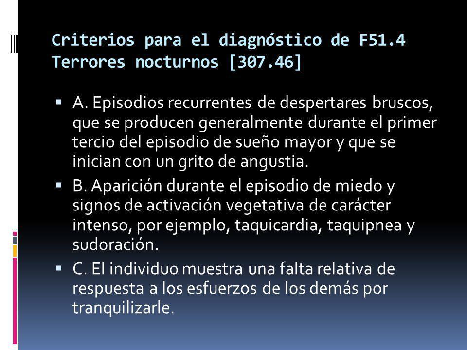 Criterios para el diagnóstico de F51.4 Terrores nocturnos [307.46] A.