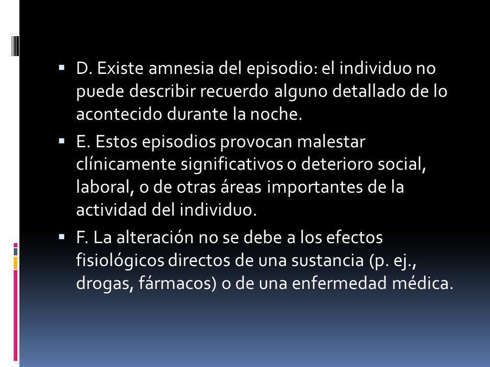 D. Existe amnesia del episodio: el individuo no puede describir recuerdo alguno detallado de lo acontecido durante la noche. E. Estos episodios provoc