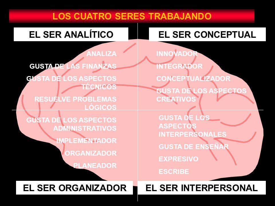EL SER ANALÍTICOEL SER CONCEPTUAL EL SER ORGANIZADOREL SER INTERPERSONAL LOS CUATRO SERES TRABAJANDO ANALIZA GUSTA DE LAS FINANZAS GUSTA DE LOS ASPECTOS TÉCNICOS RESUELVE PROBLEMAS LÓGICOS INNOVADOR INTEGRADOR CONCEPTUALIZADOR GUSTA DE LOS ASPECTOS CREATIVOS GUSTA DE LOS ASPECTOS ADMINISTRATIVOS IMPLEMENTADOR ORGANIZADOR PLANEADOR GUSTA DE LOS ASPECTOS INTERPERSONALES GUSTA DE ENSEÑAR EXPRESIVO ESCRIBE
