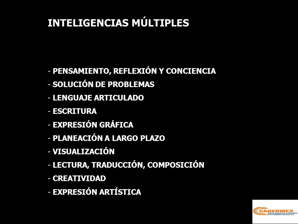 INTELIGENCIAS MÚLTIPLES - PENSAMIENTO, REFLEXIÓN Y CONCIENCIA - SOLUCIÓN DE PROBLEMAS - LENGUAJE ARTICULADO - ESCRITURA - EXPRESIÓN GRÁFICA - PLANEACIÓN A LARGO PLAZO - VISUALIZACIÓN - LECTURA, TRADUCCIÓN, COMPOSICIÓN - CREATIVIDAD - EXPRESIÓN ARTÍSTICA