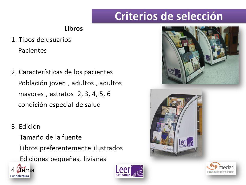 Criterios de selección Libros 1. Tipos de usuarios Pacientes 2. Características de los pacientes Población joven, adultos, adultos mayores, estratos 2