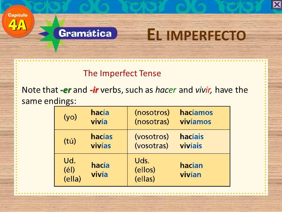-er / -ir verb endings in the Imperfect E L IMPERFECTO yo -ía nosotros nosotras -íamos tú -ías vosotros vosotras -íais él ella Ud. -ía ellos ellas Uds