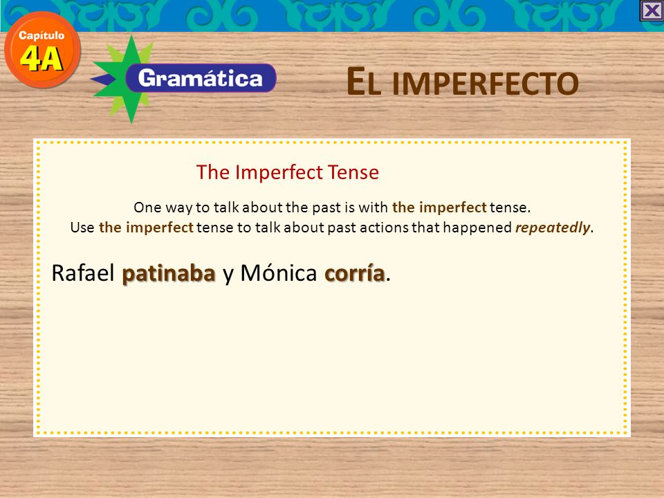 The Imperfect Tense E L IMPERFECTO Because the yo and Ud./él/ella forms are the same in the imperfect, speakers often use the subject pronouns to avoid confusion.