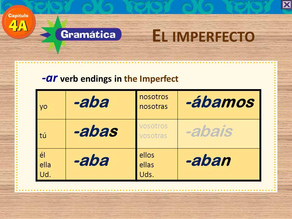 -ar verb endings in the Imperfect E L IMPERFECTO yo -aba nosotros nosotras -ábamos tú -abas vosotros vosotras -abais él ella Ud.