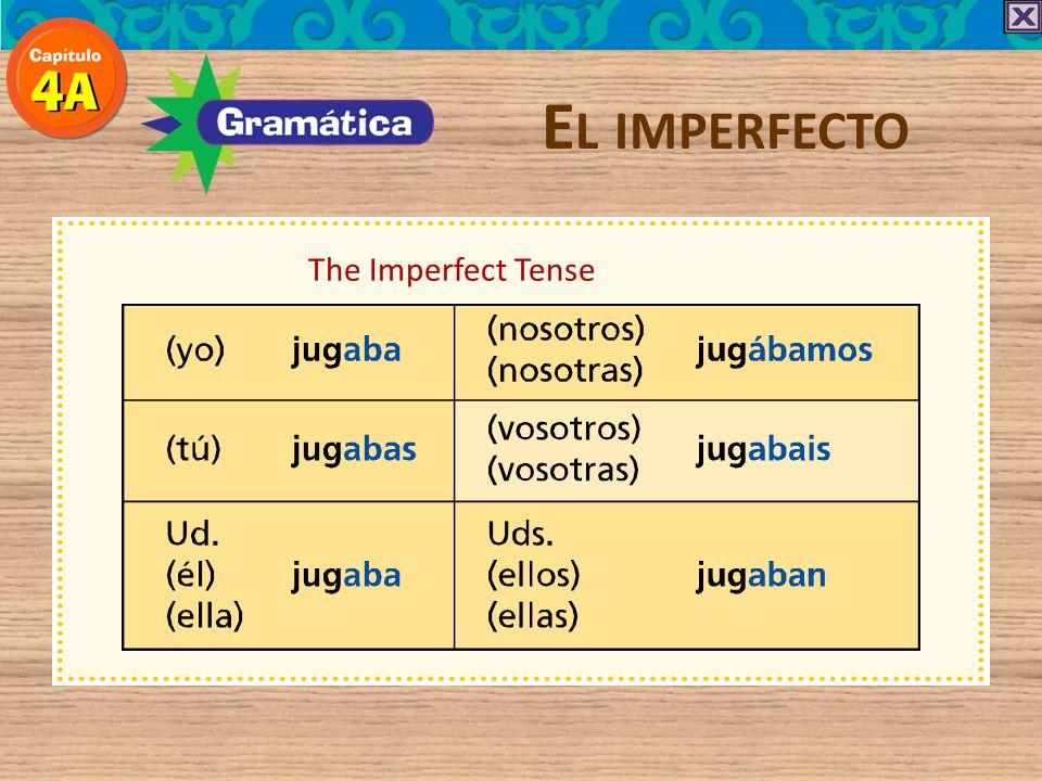 -ar verb endings in the Imperfect E L IMPERFECTO yo -aba nosotros nosotras -ábamos tú -abas vosotros vosotras -abais él ella Ud. -aba ellos ellas Uds.