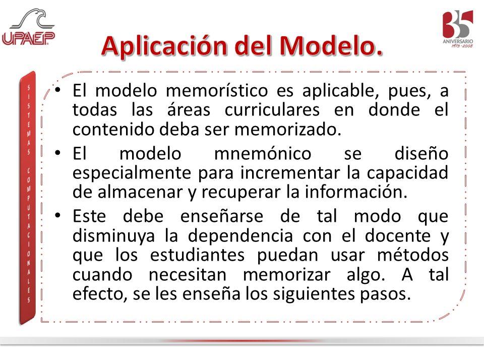 El modelo memorístico es aplicable, pues, a todas las áreas curriculares en donde el contenido deba ser memorizado. El modelo mnemónico se diseño espe