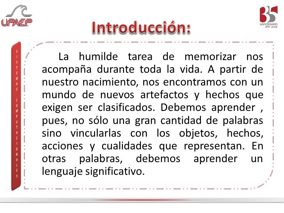 La humilde tarea de memorizar nos acompaña durante toda la vida. A partir de nuestro nacimiento, nos encontramos con un mundo de nuevos artefactos y h