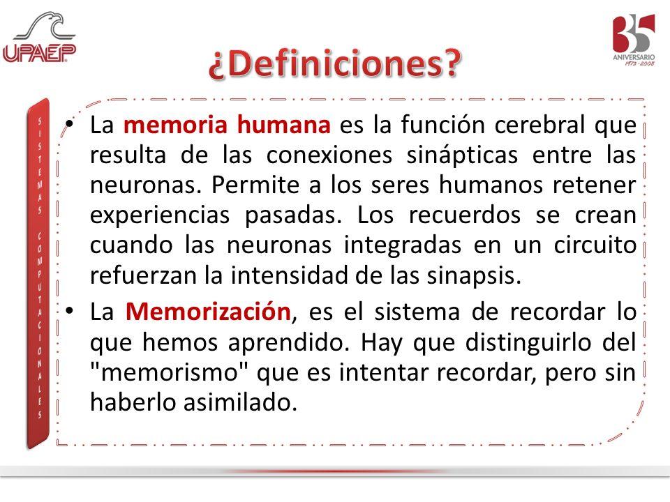 La memoria humana es la función cerebral que resulta de las conexiones sinápticas entre las neuronas. Permite a los seres humanos retener experiencias
