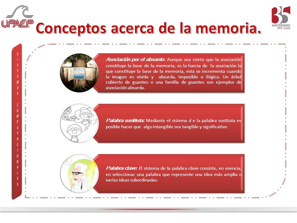 Asociación por el absurdo : Aunque sea cierto que la asociación constituye la base de la memoria, es la fuerza de la asociación la que constituye la b